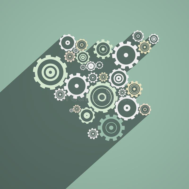 抽象纸传染媒介嵌齿轮,齿轮 库存例证