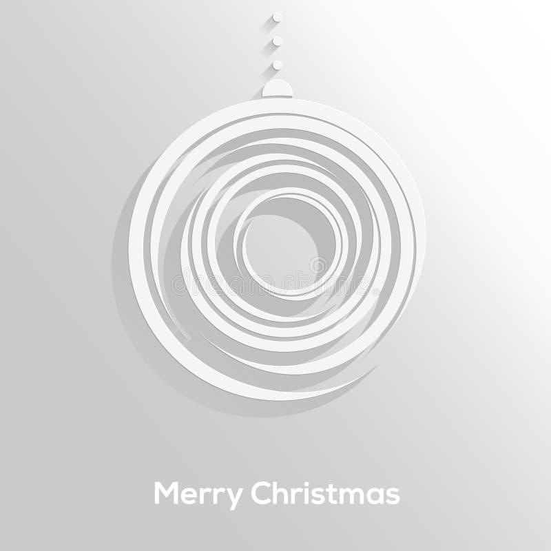 抽象纸切开了与在中立背景隔绝的长的阴影的圣诞节球。时髦设计。圣诞卡 库存例证