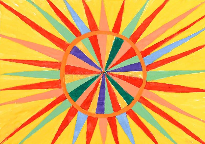 抽象纸模式星期日水彩 皇族释放例证