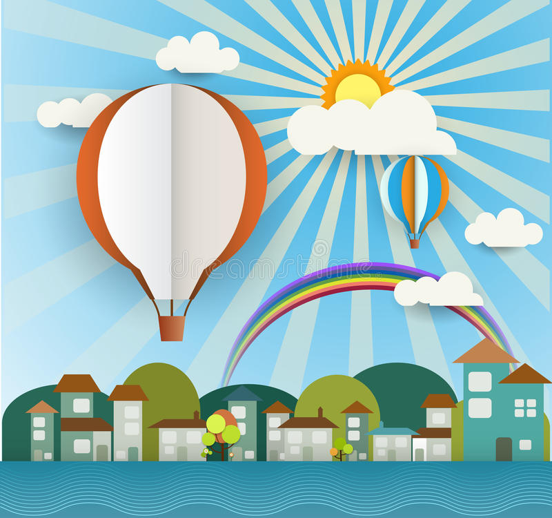 抽象纸用阳光、云彩、家、树和空白的气球切开了在浅兰的背景 地方的气球空间您的文本 库存例证
