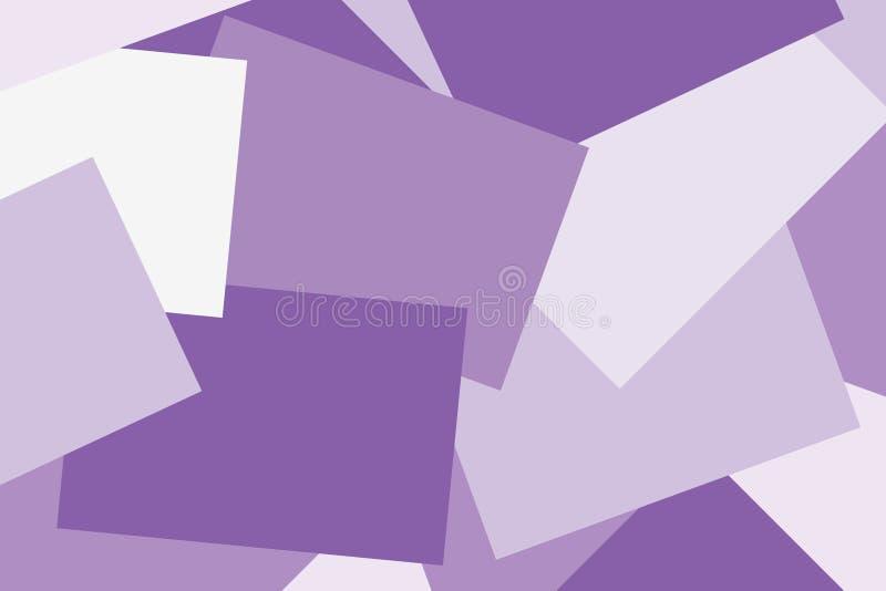 抽象纸紫色淡色五颜六色的几何舱内甲板放置样式背景,许多覆盖物贴墙纸的纸笔记 皇族释放例证