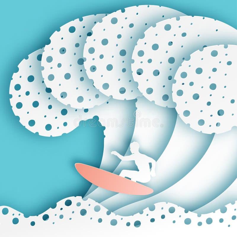 抽象纸艺术海或海洋水波和冲浪者委员会的 向量例证