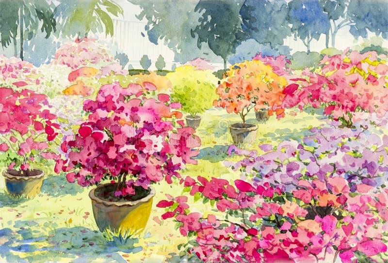 抽象纸花的水彩风景原始的绘画桃红色颜色 库存例证