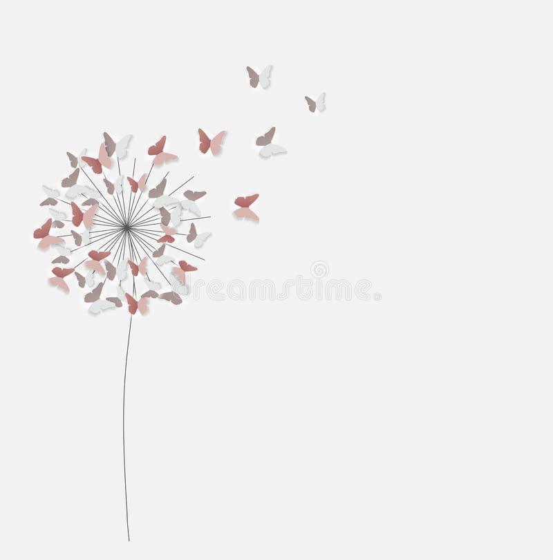 抽象纸被删去的蝶粉花背景 传染媒介illus 库存例证