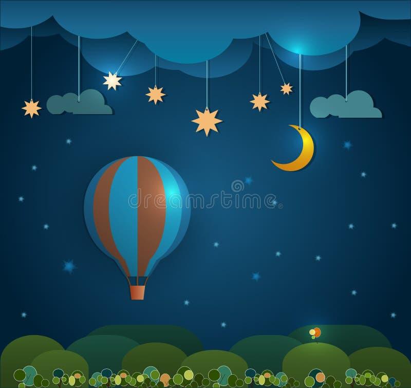 抽象纸裁减热的气球、云彩、天空和月亮与星在晚上 您的设计的空白 库存例证