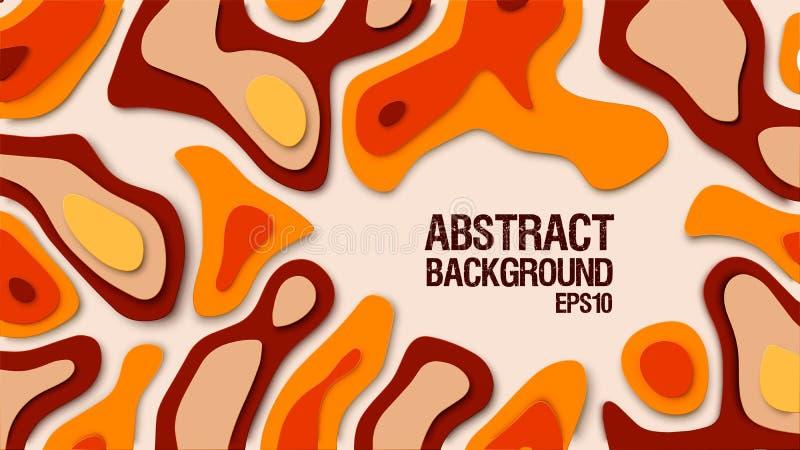 抽象纸裁减背景 设计的纸装饰构造与纸板波浪橙色层数 向量 皇族释放例证