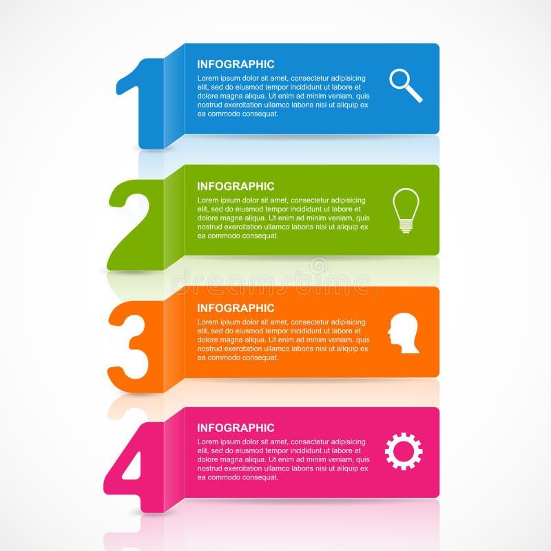 抽象纸infographics数字选择设计元素 向量例证