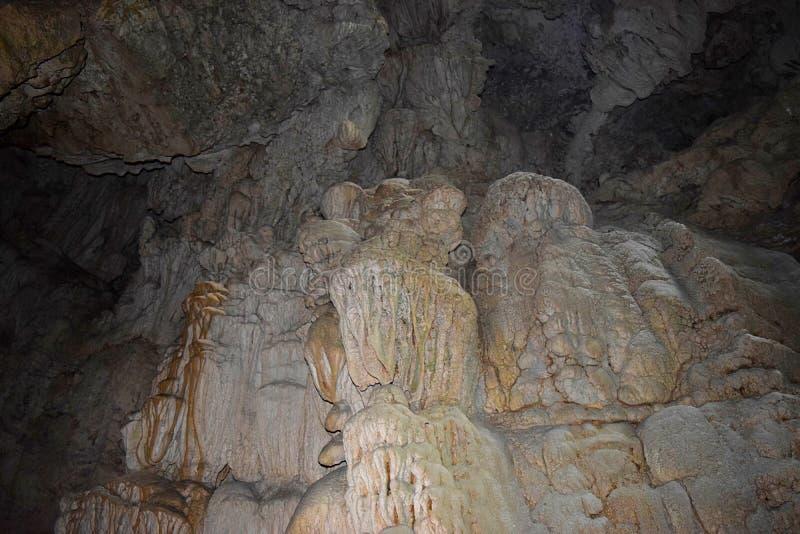 抽象纹理和形状在水成岩在石灰石洞- Baratang海岛,安达曼尼科巴,印度 图库摄影