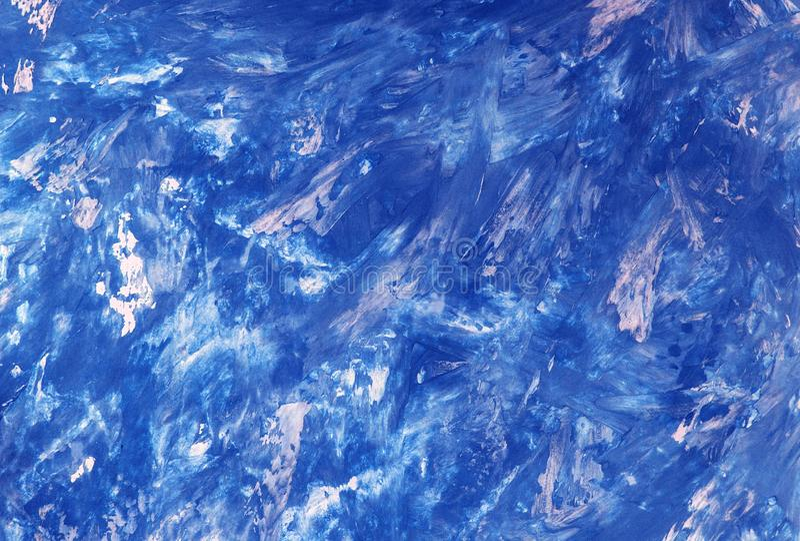 抽象纹理,蓝色油漆的样式在帆布,背景的 图库摄影