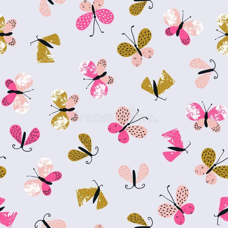 抽象纺织品的传染媒介无缝的样式与蝴蝶 逗人喜爱的重复的时髦的夏天背景 向量例证