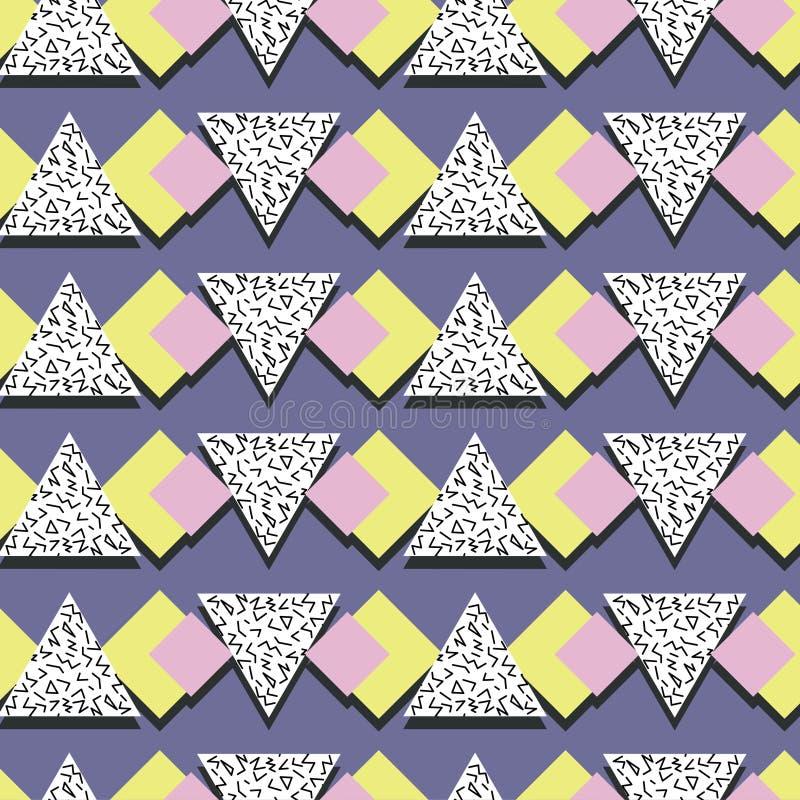 抽象线性三角传染媒介样式,在孟菲斯样式,无缝的样式 库存例证