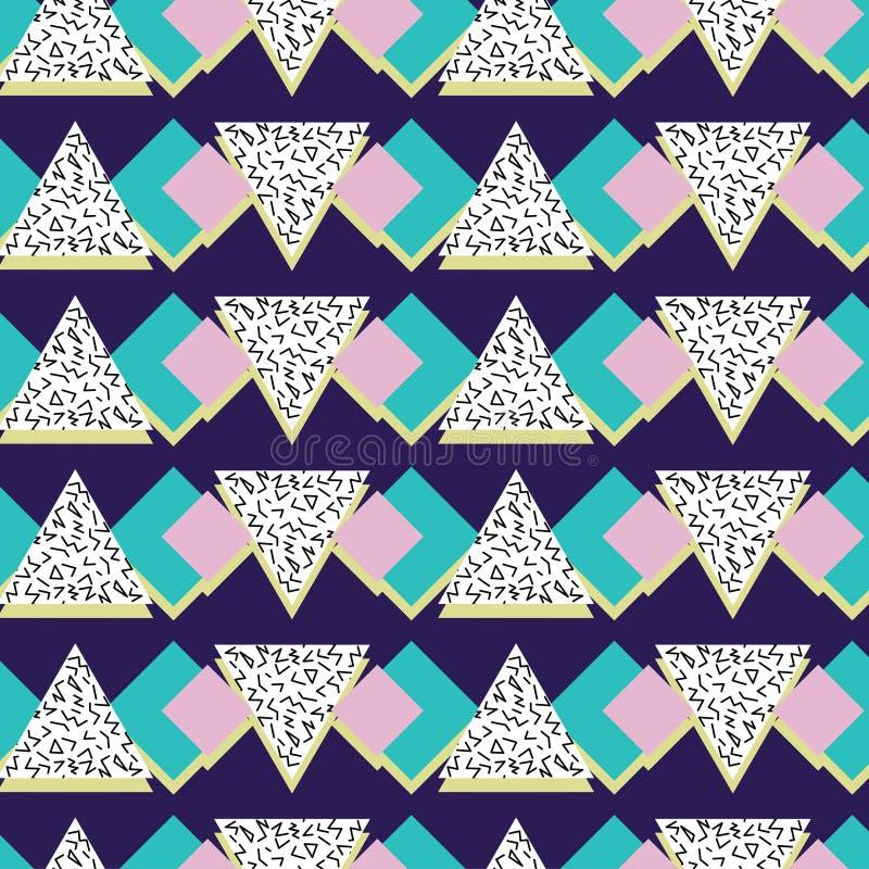 抽象线性三角传染媒介样式,在孟菲斯样式,无缝的样式 向量例证