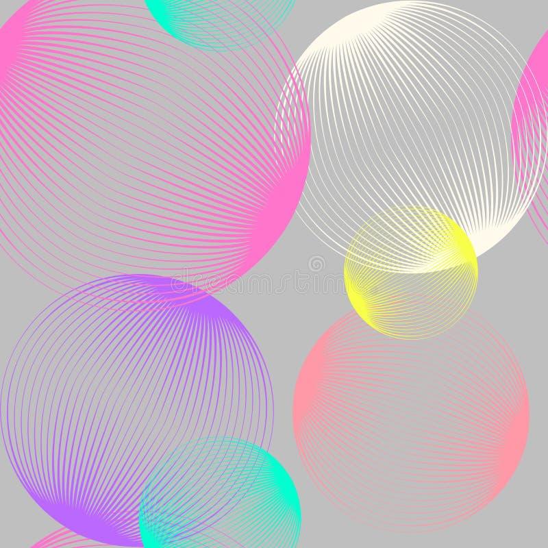 抽象线性球形无缝的样式 与泡影的五颜六色的反复性的现代设计 几何圈子背景 皇族释放例证