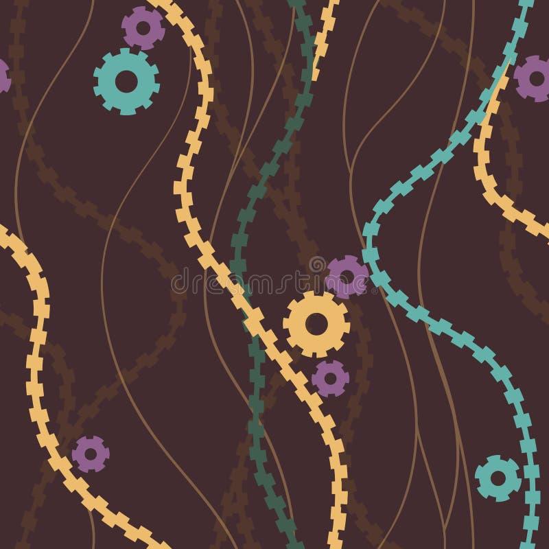 抽象线波动图式无缝,曲线交错wrappin的线形手拉的头发或海华丽墙纸背景 皇族释放例证