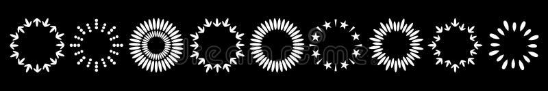 抽象线箭头加点了星圆的框架集合 圆的麦子缠绕形状 平的设计 装饰元素 查出 投反对票 库存例证