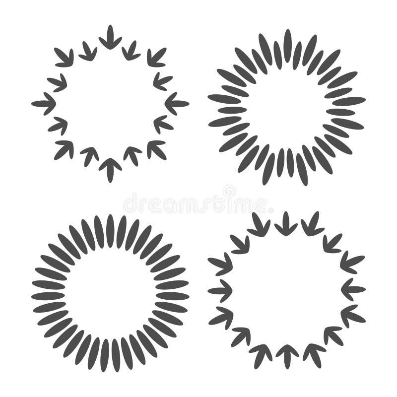 抽象线箭头星加点了围绕框架集合 圆的麦子缠绕形状 四个对象 平的设计 奶油被装载的饼干 查出 向量例证