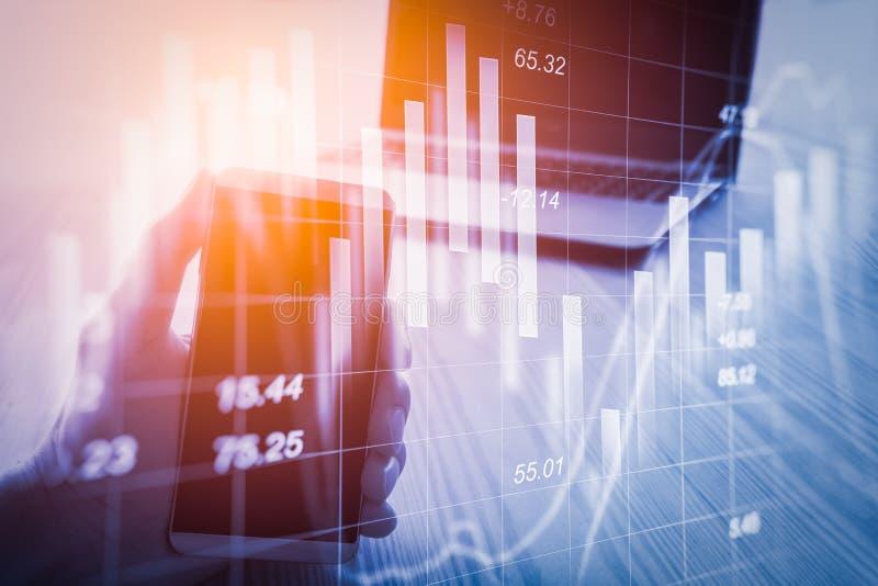 抽象经济分析背景 两次曝光事务m 免版税库存图片