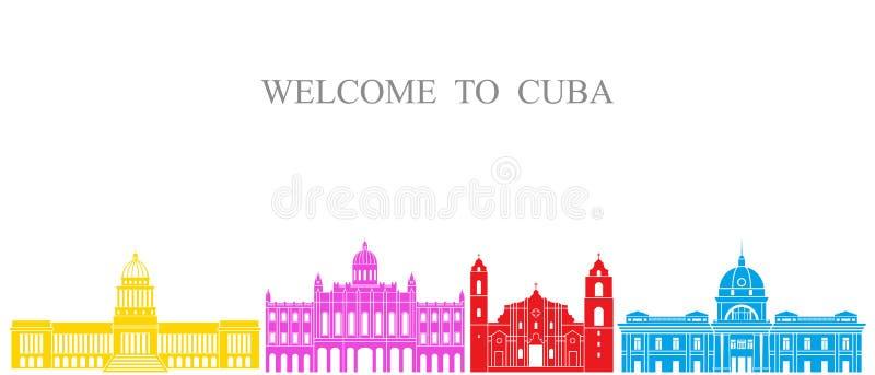 抽象结构 在白色背景的被隔绝的古巴建筑学 向量例证