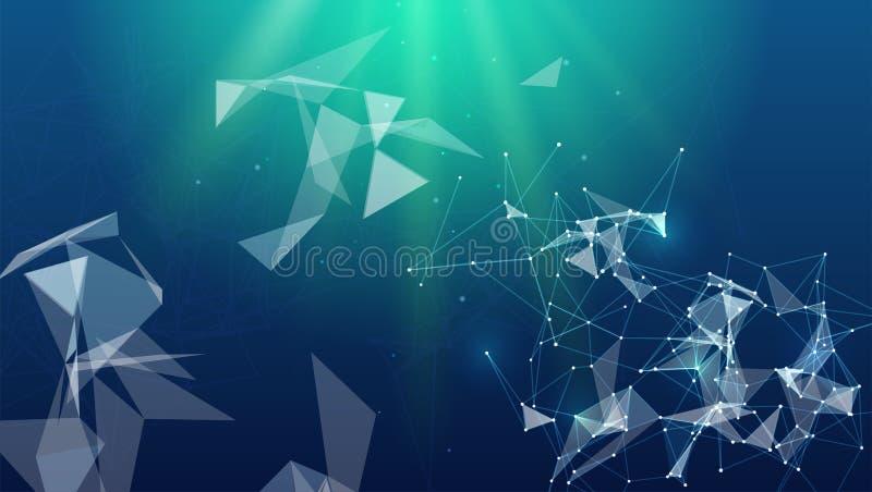 抽象结节形状,传染媒介例证 Blockchain技术背景 通信线路的概念,网络 皇族释放例证