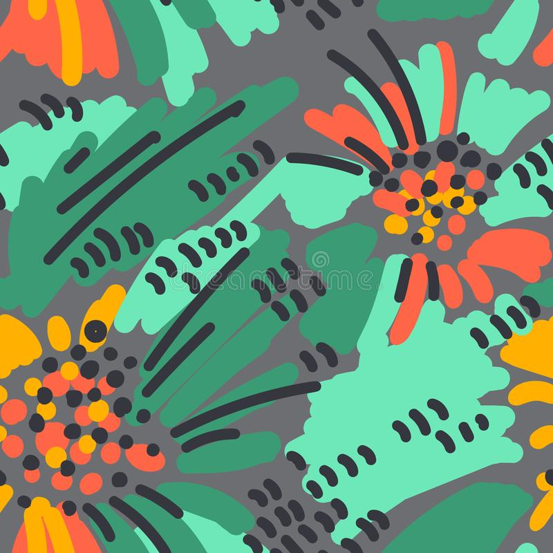 抽象绘画无缝的样式 无权五颜六色的背景孟菲斯样式 手拉的热带背景 向量例证