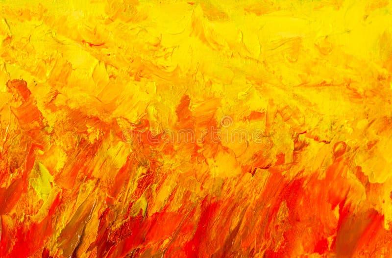 抽象绘画片段例证 与调色刀标记的墙纸 在帆布纹理的油 抽象背景 特写镜头 向量例证