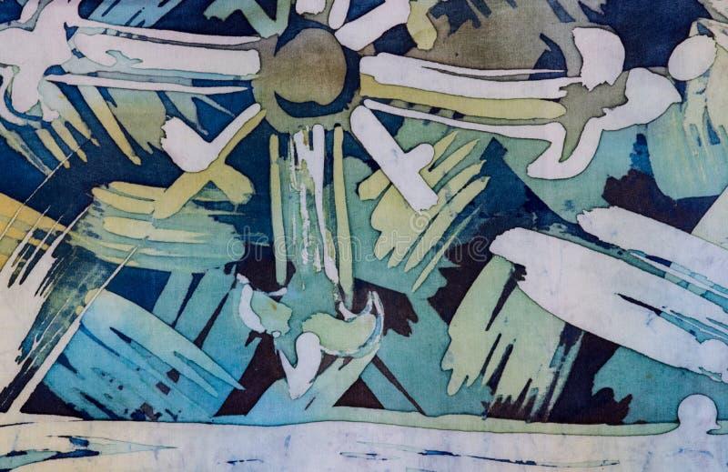抽象绘画的技巧,片段,热的蜡染布,背景纹理,手工制造在丝绸 向量例证
