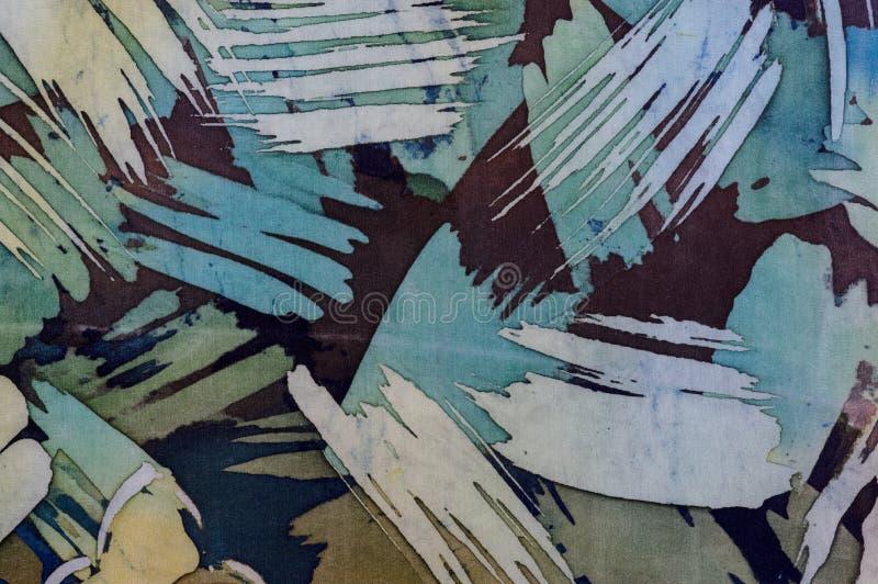 抽象绘画的技巧,片段,热的蜡染布,背景纹理,手工制造在丝绸 库存例证
