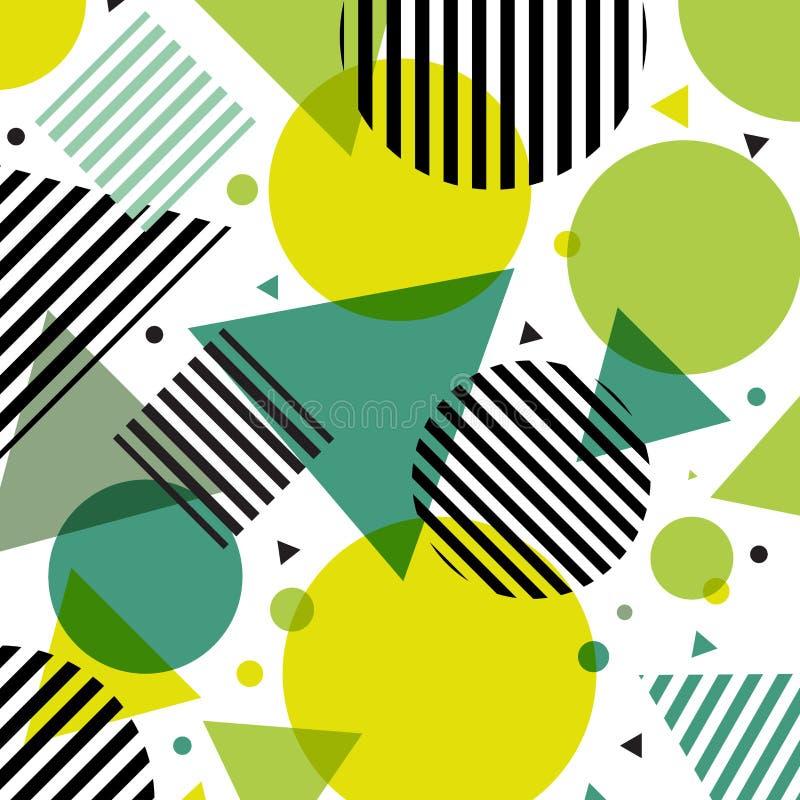 抽象绿色与对角黑线的自然现代时尚圈子和三角样式在白色背景 向量例证