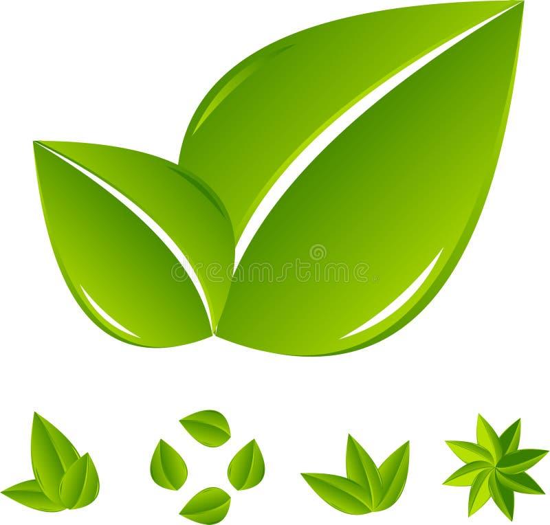 抽象绿色叶子集 向量例证