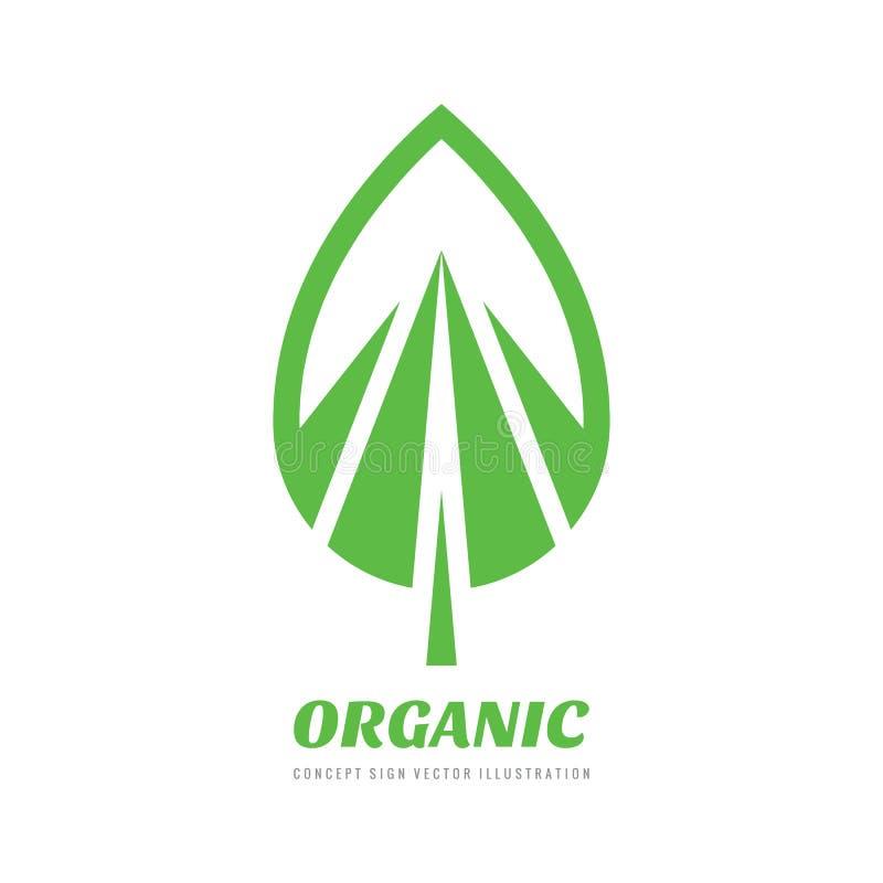 抽象绿色叶子-概念企业商标模板传染媒介例证 自然创造性的标志 有机产品标志 图象 皇族释放例证