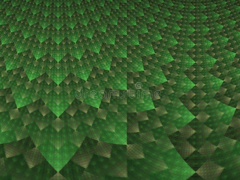 抽象绿色和白色方格的分数维 库存例证