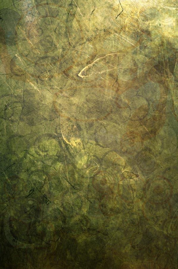 抽象绿色和金子Grunge 库存照片