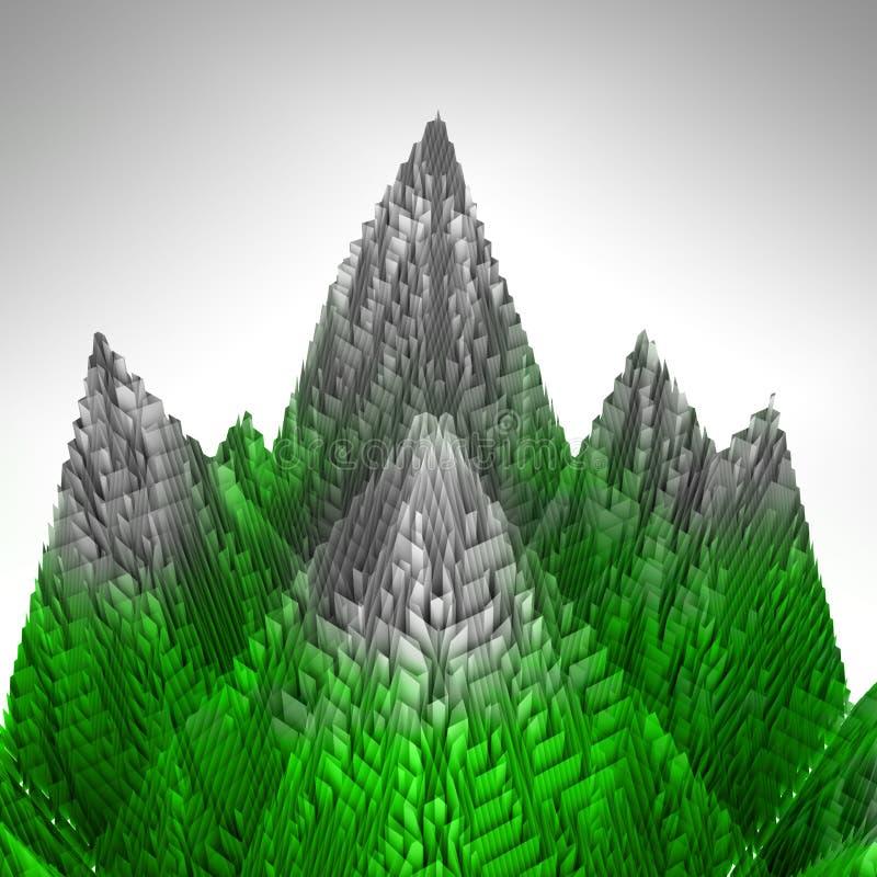 抽象绿色山结构包括冰 皇族释放例证
