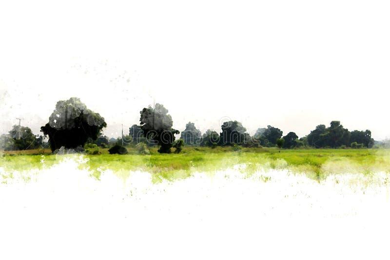 抽象绿色树和领域风景水彩 免版税库存图片