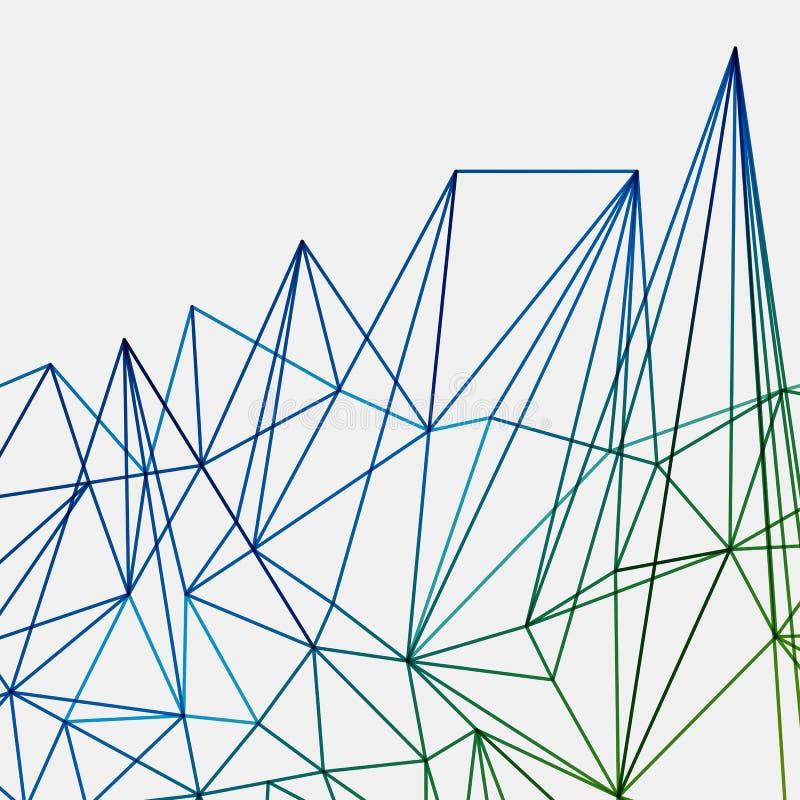 抽象绿色结尾蓝色techno线背景,几何 皇族释放例证