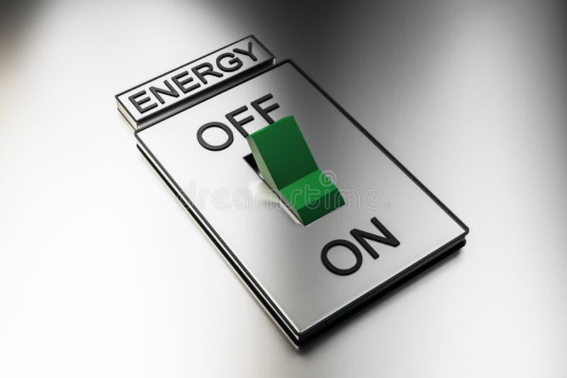 抽象绿色能量开关 皇族释放例证