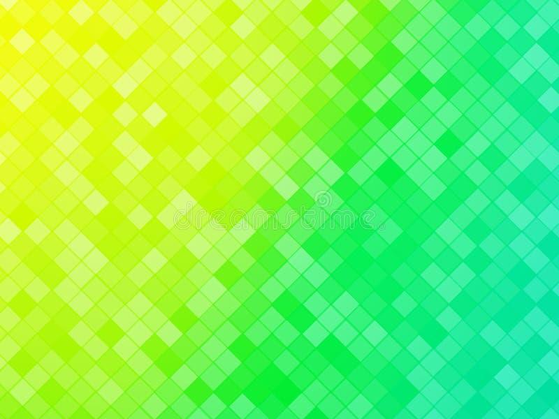 抽象绿色黄色铺磁砖的背景 向量例证