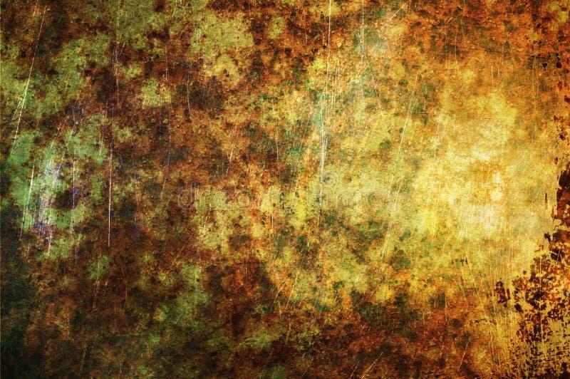 抽象绿金铁锈 免版税库存照片