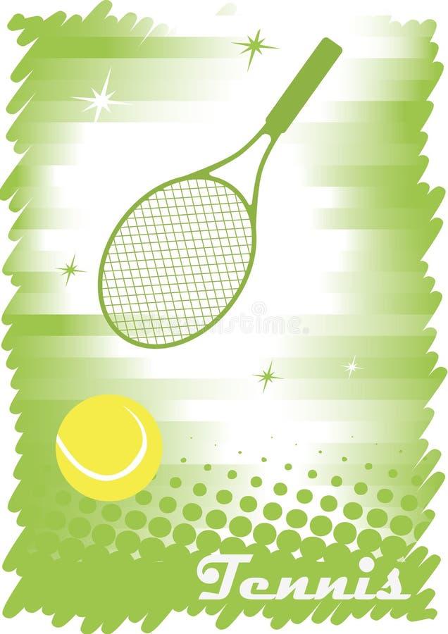 抽象网球横幅 绿色背景 绿色网球场与 皇族释放例证