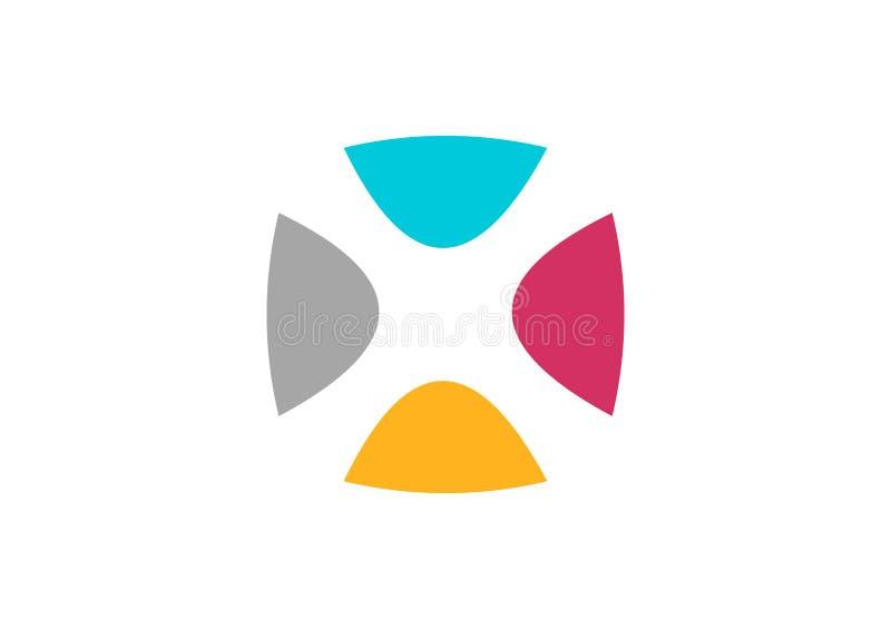 抽象网络商标,几何设计传染媒介,队连接businness略写法,信件x 向量例证