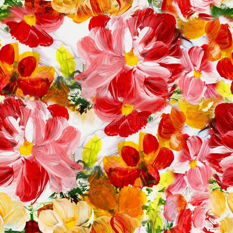 抽象美丽的花无缝的样式 向量例证