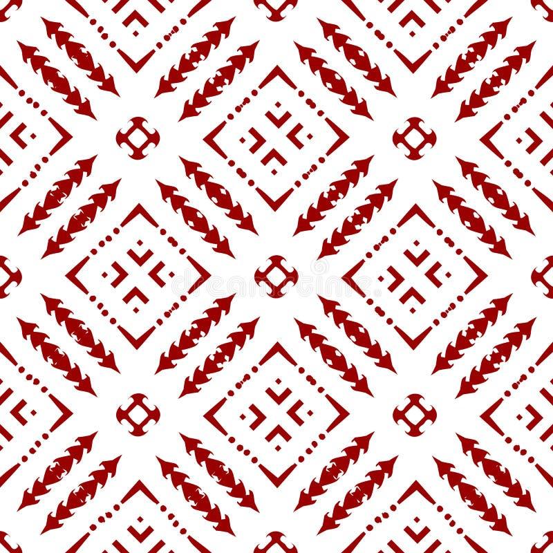 抽象美丽的装饰东方红色皇家伊斯兰教的阿拉伯中国花卉几何无缝的样式纹理墙纸 皇族释放例证