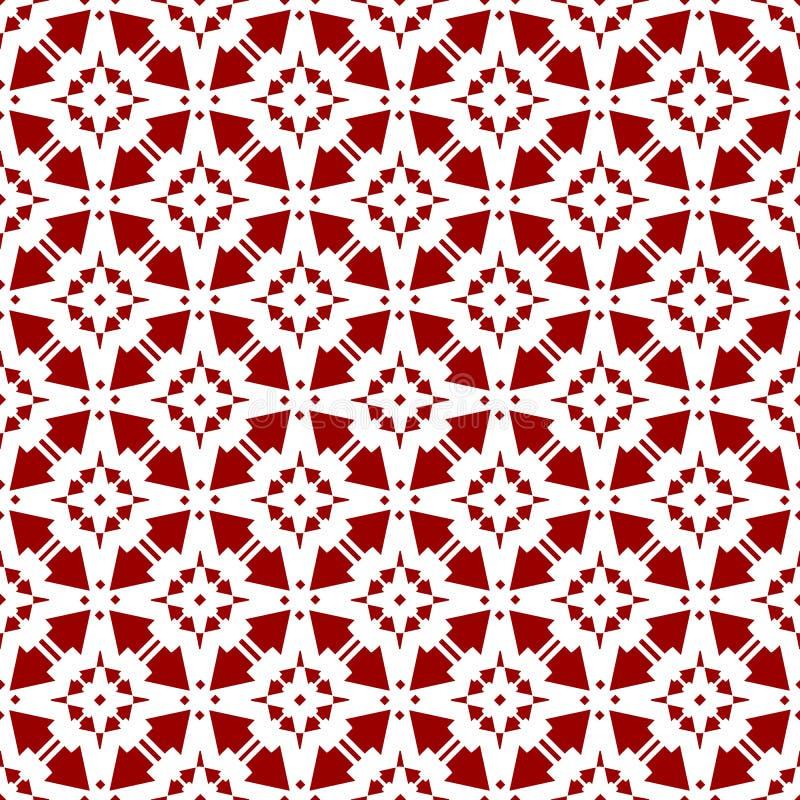 抽象美丽的装饰东方红色皇家伊斯兰教的阿拉伯中国花卉几何无缝的样式纹理墙纸 向量例证