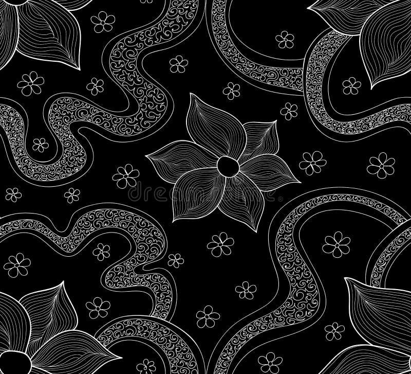 抽象美好的与开花的花和计算的形状的传染媒介无缝的样式 不尽的纹理 向量例证