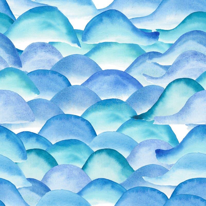抽象美好的明亮的图表艺术性的嫩美妙的透明夏天蓝色波动图式水彩手剪影 向量例证
