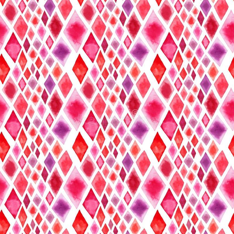 抽象美好的美妙的透明明亮的红色桃红色不同的形状菱形计算样式水彩手例证 库存例证