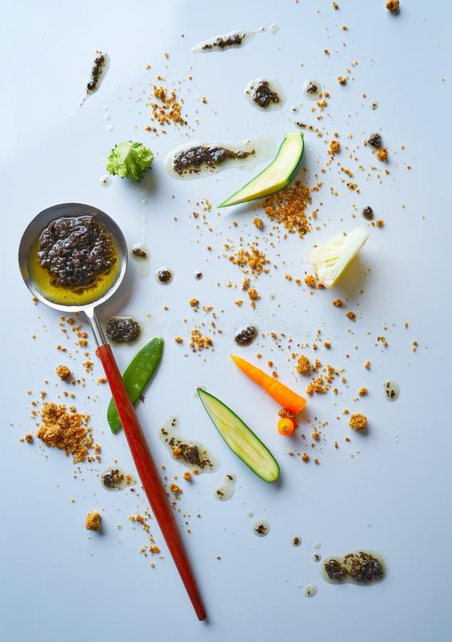 抽象美食术先锋概念分子烹调 库存图片