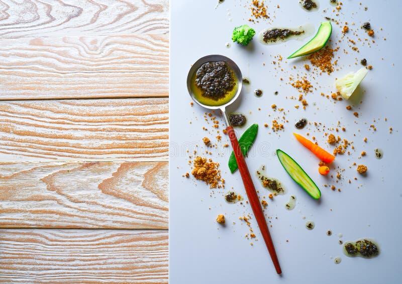 抽象美食术先锋概念分子烹调 免版税图库摄影