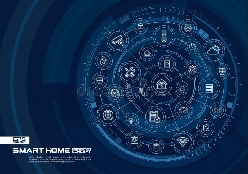 抽象聪明的家庭技术背景 数字式用联合圈子连接系统,发光的稀薄的线象 库存例证