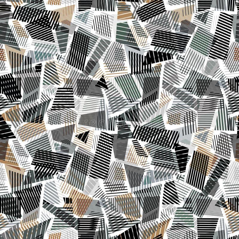 抽象肮脏的线构造无缝的样式 向量例证